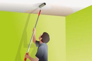 Как правильно побелить потолок своими руками водоэмульсионной краской и стоимость квадратного метра