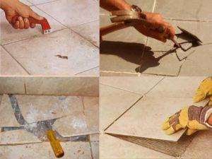 Как правильно снять плитку с пола и отремонтировать ее