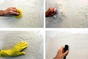 Рельефная декоративная покраска потолка фактурной краской своими руками