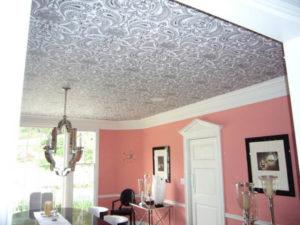 Виды, стоимость и фото потолочных обоев под покраску