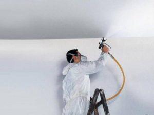 Покраска краскопультом – каковы правила облицовки стен и потолка?