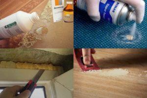 Монтажная пена – как и чем удалить застывшие пятна с разных покрытий?