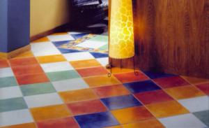 Варианты дизайна пола из цветной керамической плитки