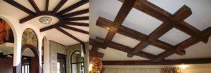 Монтаж и фото декоративных потолочных фальш балок из дерева