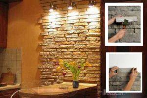 Отделка стен декоративным камнем – где использовать и как клеить?