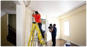 Ремонт, перетяжка и замена провисшего натяжного потолка в квартире