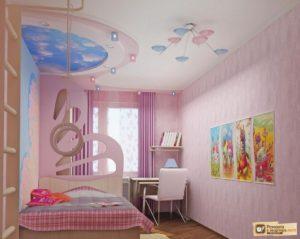 Дизайн и фото потолков из гипсокартона для детской комнаты и спальни