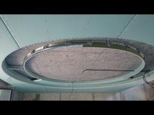 Монтаж круга на потолке из гипсокартона с подсветкой