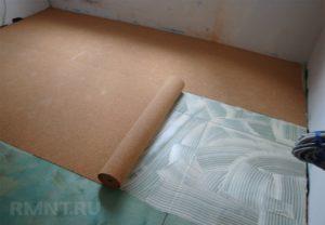 Пробковая подложка на пол под линолеум: стоимость и технология укладки