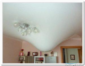 Демонтаж натяжного тканевого потолка и ремонт после протечки в квартире