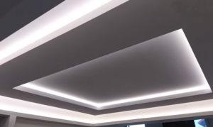Парящий гипсокартонный потолок своими руками с подсветкой
