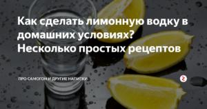 Несколько простых рецептов домашней лимонной водки