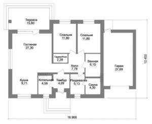 Планировка одноэтажного дома с 2 спальнями и гаражом