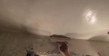 Выравнивание и шпаклевка неровного потолка в ванной и на кухне