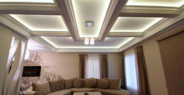 Красивые гипсокартонные потолки с подсветкой в частном доме