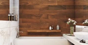 Плитка под дерево на стену в ванную комнату – виды и особенности